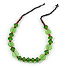 Brown Wood, Green Acrylic Bread Black Cotton Cord Necklace - 64cm L