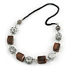 Unique Wood Bead Black Cotton Cord Necklace (Brown, White, Black) - 68cm L