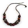 Brown Wood Round Bead Cotton Cord Necklace - 56cm L