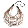 Long Layered Multi-strand Plum/ Transparent Glass Bead Black Faux Leather Cord Necklace - 100cm L