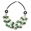 Layered Green Sea Shell with Black Faux Leather Cord Necklace - 70cm L