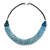 Chunky Light Blue Shell Coin Necklace with Black Faux Leather Cord - 55cm L