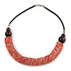 Chunky Rose Red Shell Coin Necklace with Black Faux Leather Cord - 55cm L
