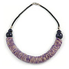 Purple Wood, Coin Shell Bead with Black Faux Leather Cord Necklace - 50cm L