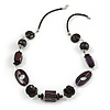 Deep Purple/ Brown Wood Bead Wire Detailing with Black Faux Leather Cord Necklace - 66cm L