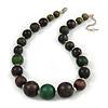 Brown/ Green Graduated Wood Bead Necklace - 42cm L/ 4cm Ext