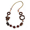 Romantic Wood, Shell, Resin Bead with Cotton Cord Long Necklace (Brown/ Olive) - 84cm L