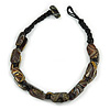 Dark Brown Oval Wood Bead with Colour Fusion Cotton Cord Necklace - 44cm L