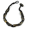 Black Oval Wood Bead with Colour Fusion Cotton Cord Necklace - 44cm L