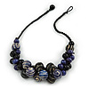Black/ Dark Blue Cluster Wood Bead With Black Cord Necklace - 54cm L
