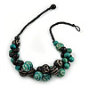 Black/ Teal Green Wood Bead Cluster with Cotton Cord Necklace - 55cm L