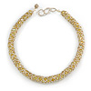 Pale Yellow Acrylic and Off White Glass Bead Choker Style Necklace - 42cm Long