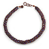 Purple Acrylic and Glass Bead Choker Style Necklace - 42cm Long