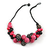 Black/ Deep Pink Cluster Wood Bead With Black Cord Necklace - 54cm L