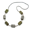 Long Wood Bead with Silver Tone Metal Links Black Rubber Cord Necklace (Glitter Olive Green/ Silver) - 84cm L