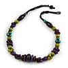 Multicoloured Wood Bead Cluster Cotton Cord Necklace - 72cm L