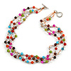 3 Strand Multicoloured Ceramic, Silver Acrylic Bead Necklace - 44cm L