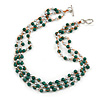 3 Strand Green Ceramic, Silver Acrylic Bead Necklace - 44cm L