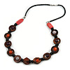 Wood and Ceramic Bead Necklace with Black Faux Leather Cord - 80cm L