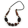 Geometric Wood Bead with Silver Wire Element Black Faux Leather Cord Necklace (Black/ Brown) - 76cm L