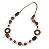 Long Brown Wood and Black Ceramic Bead with Olive Cotton Cords Necklace - 80cm L