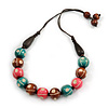 Green/ Brown/ Pink Round Wood Bead Cotton Cord Necklace - 66cm Long
