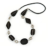 Black Ceramic and Silver Tone Wire Element Black Faux Leather Cord Necklace - 76cm L