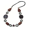 Purple/ Plum Ceramic Bead and Black Wood Ring Cotton Cord Necklace - 72cm L