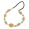 Beige Ceramic and Silver Tone Wire Element Black Faux Leather Cord Necklace - 76cm L