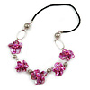 Fuchsia Shell Floral Faux Leather Cord Long Necklace -78cm L