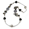 Black/ Grey Sea Shell, Heart Acrylic, Silver Ball Beaded Long Chain Necklace In Silver Tone - 88cm Long