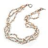 3 Strand White Ceramic, Silver Acrylic Bead Necklace - 44cm L