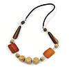 Brown/ Natural Wood and Silver Tone Wire Element Black Faux Leather Cord Necklace - 74cm L