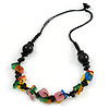 Multicoloured Square Shape Resin and Black Round Wood Bead Cotton Cord Necklace - 72cm L