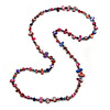 Long Multicoloured Shell Nugget and Glass Crystal Bead Necklace (Purple/ Blue/ Magenta/ Plum) - 116cm L