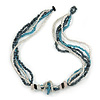 Multistrand Glass Bead Necklace (Light Blue, Hematite, Transparent) - 44cm L