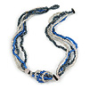 Multistrand Glass Bead Necklace (Electric Blue, Hematite, Transparent) - 44cm L