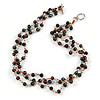 3 Strand Black Ceramic, Silver Acrylic Bead Necklace - 44cm L