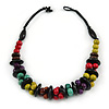 Chunky Multicoloured Round and Coin Wood Bead Cotton Cord Necklace - 46cm Long