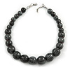 Animal Print Wood Bead Chunky Necklace (Grey/ Black) - 48cm L/ 5cm Ext