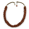 Statement Chunky Brown Cluster Bead with Olive Cord Necklace - 50cm L