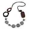 Brown/ Grey Acrylic Wood Bead Black Cord Cotton Necklace - 74cm Long