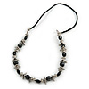 Black Ceramic and Metal Bead Black Faux Leather Cord Necklace - 66cm L