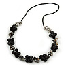 Black Round Ceramic Bead and Grey Shell Nugget Faux Leather Cord Necklace - 70cm L