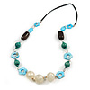 Blue Shell Flower, Teal Wood Bead and White Resin Ball Black Cord Necklace - 80cm L