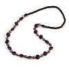Wood, Ceramic Beaded Long Necklace (Purple, Plum, Brown) - 80cm L