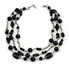 3 Strand Black Glass & Ceramic Bead Necklace In Silver Tone - 50cm L/ 3cm Ext