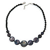 Black Glass Bead, Grey Shell Component Necklace - 44cm L/ 5cm Ext