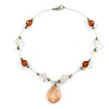 Brown/ Transparent Faceted Acrylic Bead Wire Necklace in Silver Tone - 42cm Long