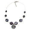 Delicate Floating Dark Grey Shell Bead Wire Necklace in Silver Tone - 42cm L/ 5cm Ext